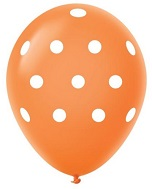 "11"" Polka Dots Latex Balloons 25 Count Orange"